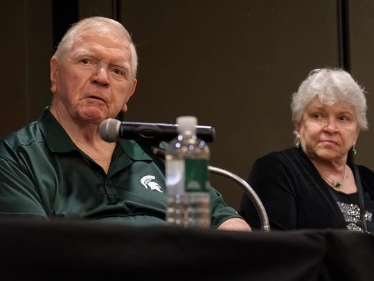 Former MSU head football coach George Perles along with his wife Sally, speaks at a news conference concerning a fundraising event spearheaded by Kirk Gibson to combat Parkinson's Disease on Sept. 23, 2017.