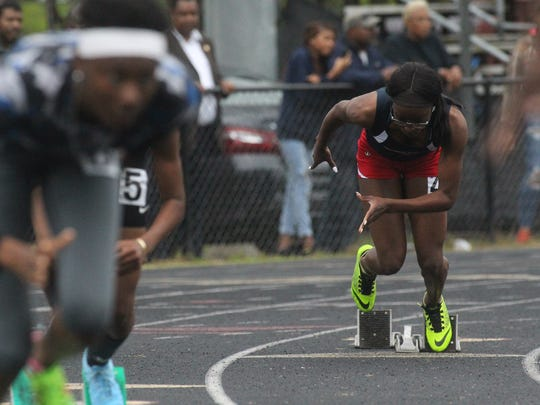 Wakulla's Ma'Asa Gay takes off at the start of the 400-meter dash during the District 2-2A meet.