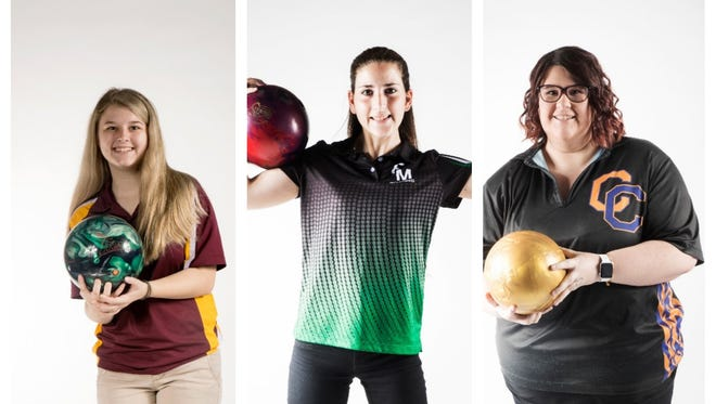 The finalists for The 2017 News-Press All-Area Girls Bowler of the Year are (from left) Cyndee Whiteleather, Marissa McIver and Kaela Ruby..