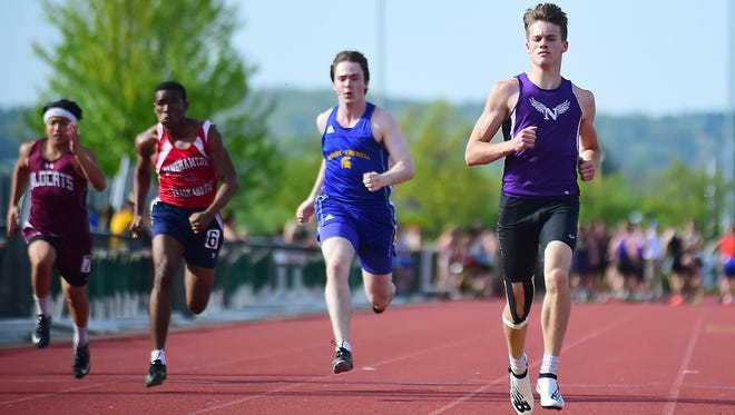 Zack Race of Norwich wins the 100-meter semifinal during STAC Track and Field Championship on May 17 at Vestal High School.
