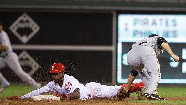The Phillies' Roman Quinn Monday in the bottom of the first inning at Citizens Bank Park against the Pirates. Quinn's speed has the potential to be a game-changer for the Phillies.