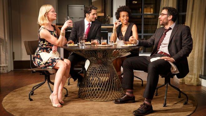 "Gretchen Mol, left, Hari Dhillon, Karen Pittman and Josh Radnor in the play ""Disgraced."" CREDIT: Joan Marcus"