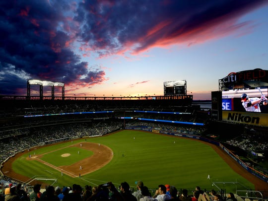 Jun 5, 2018; New York City, NY, USA; General view of Citi Field as the sun sets during the fifth inning between the New York Mets and the Baltimore Orioles.