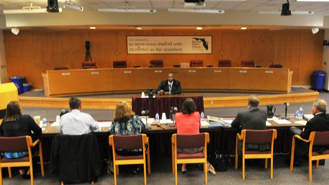 Members of the Brevard County School Board interview Desmond Blackburn for the role of superintendent.