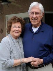 Robert Sheldon, 90, and his wife, Rowena, 89, married