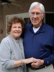 Robert Sheldon, 90, and his wife, Rowena, 89, married two years ago. They dated in high school and separated during World War II when Robert served in the Army Air Corp as a top turret gunner. After both their long-time spouses passed away, they became reacquainted thanks to Robert coming back to Exeter to see the World War II mural of Exeter Fly Boys.