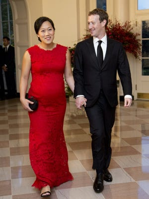 Facebook CEO Mark Zuckerberg and his wife, Priscilla Chan, visit the White House Sept. 25, 2015.