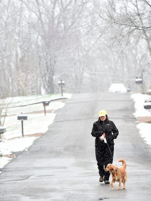 "Beverly Kranitzky walks her dog ""Fannie"" in their Wilson County neighborhood as snow arrives in Middle Tennessee Saturday March 11, 2017, in Mt. Juliet, TN"
