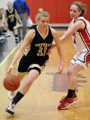 Buffalo Gap's Holly Morgan takes the ball around Riverheads'