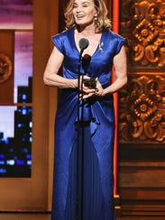 Jessica Lange accepts her first Tony Award, for her