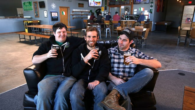 Vagabond Brewing is owned by James Cardwell, left, Alvin Klausen and Dean Howes. The North Salem brewery has live music on the weekends and daily food trucks.