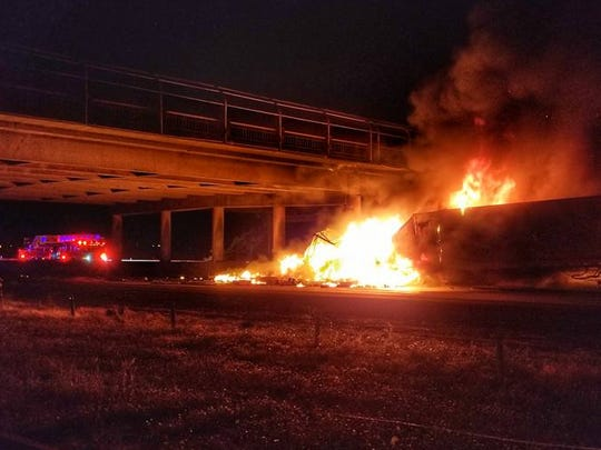 A truck crashed and caught fire near the off-ramp to