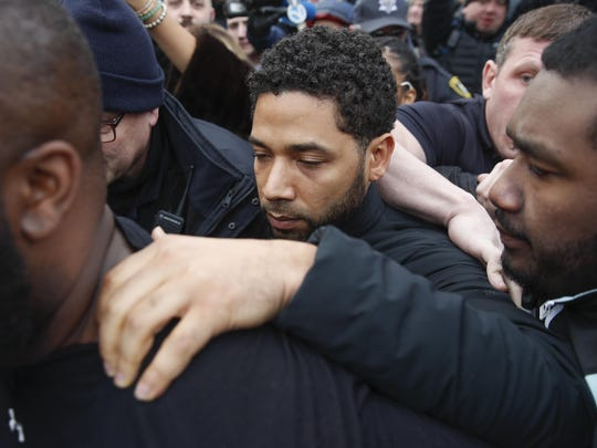 "In this Feb. 21, 2019 file photo, ""Empire"" actor Jussie Smollett leaves Cook County jail following his release in Chicago."