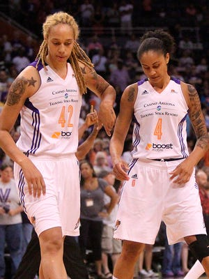 Brittney Griner (left) and Candice Dupree (right) during a game against the Atlanta Dream on Tuesday, July 14, 2015.