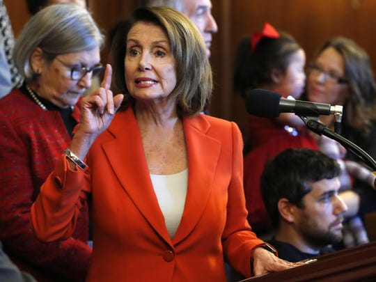 House Minority Leader Nancy Pelosi, of California, speaks during a news conference in opposition to the Republican tax bill, Tuesday, Dec. 19, 2017, on Capitol Hill in Washington. Republicans muscled the most sweeping rewrite of the nation's tax laws in more than three decades through the House. (AP Photo/Jacquelyn Martin)