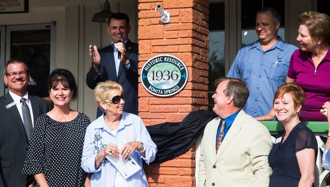 The city of Bonita Springs Historic Preservation Board unveils a historic designation plaque at the Wonder Gardens in downtown Bonita Springs on Tuesday, May 23, 2017. According to the board, the Everglades Wonder Gardens is an 80-year-old cultural icon and community centerpiece that has provided generations of Floridians and visitors the opportunity to experience native plants and animals.