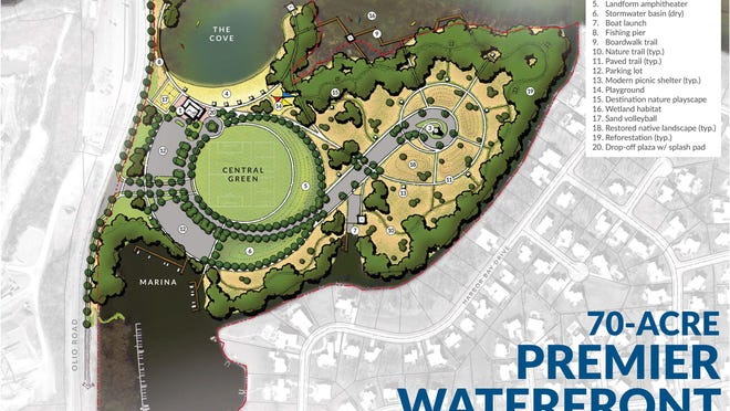 This rendering shows details of a park the city of Fishers wants to build along Geist Reservoir.