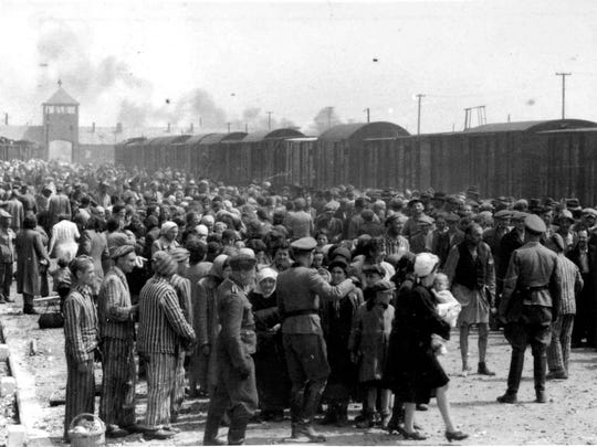 Jews are processed upon arrival at Auschwitz-Birkenau, Poland in May 1944. Of the 1,553 people on the Grunewalds' transport, 466 were given numbers and admitted to the camp. The other 1,087 were killed in the gas chambers.