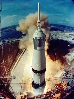 The Apollo 11 mission lifts off from Kennedy Space Center in 1969. A group of former NASA astronauts will visit St. Cloud Apollo High School on Nov. 12, a school spokeswoman confirmed Wednesday.
