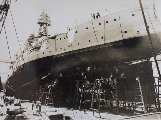 The USS Arizona in dry dock, in an undated photo.
