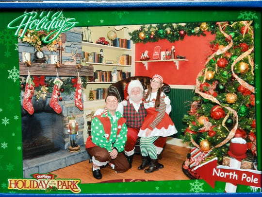 Pat Cashin posing as Santa Claus at Six Flags Great Adventure