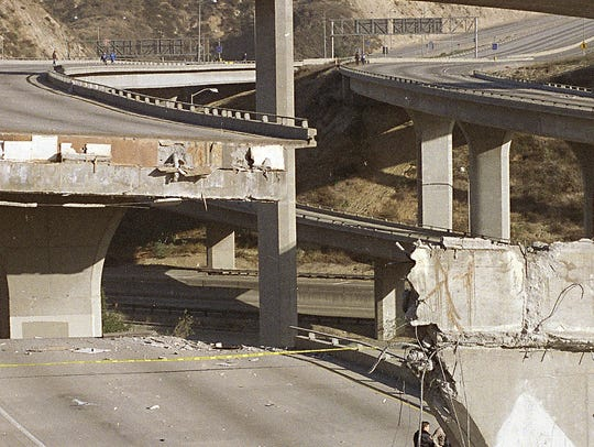 This Jan. 17, 1994, file photo shows damage in Los
