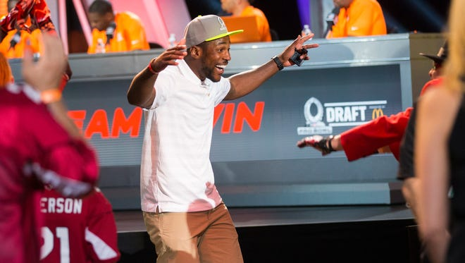 Arizona Cardinals cornerback Patrick Peterson reacts after being selected on Team Carter during the Pro Bowl draft at the Biltmore Resort on January 21, 2015. Team Carter will play Team Irvin in the 2015 Pro Bowl Sunday in Glendale.