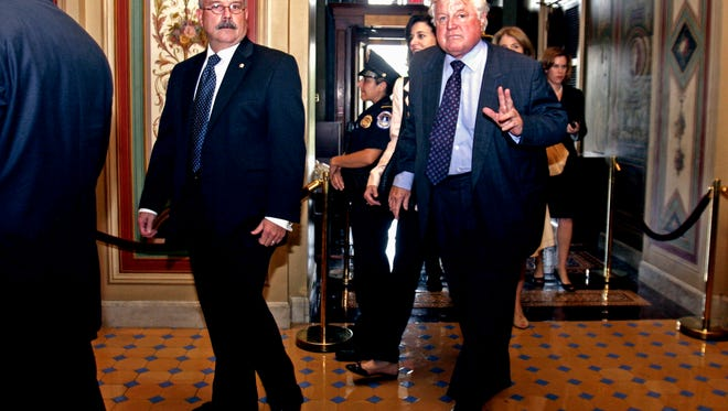 Sen. Edward Kennedy, D-Mass., enters the Capitol for the first time after brain surgery on July 9, 2008.