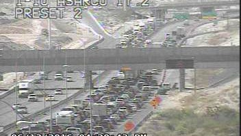 Traffic jams hit Interstate 10 West  and North Mesa Street on Monday evening.