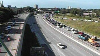 A Minnesota Department of Transportation camera shows traffic backed up on southbound Interstate Highway 35W in Minneapolis.