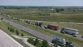 Northbound Interstate 25 traffic slows to a crawl Saturday morning between Fort Collins and Loveland.