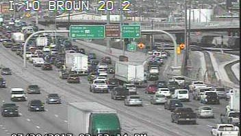 Traffic was heavily backed up on Interstate 10 East at Copia Street, where a crash involving several cars was reported in July.