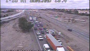 Texas Department of Transportation highway cameras show traffic backed up on Interstate 10 East in West El Paso.