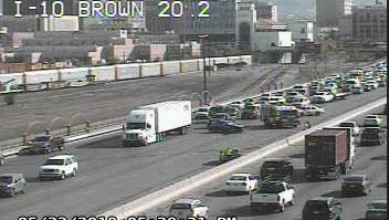 An accident blocks traffic Tuesday evening on Interstate 10 near Downtown El Paso.