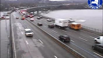 Traffic on the Tappan Zee Bridge looking toward Westchester Monday, Nov. 24, 2014, as seen in a Thruway Authority traffic camera image. A high wind warning was issued for the bridge and the speed limit reduced to 35 mph during the morning rush but these measures were later lifted.