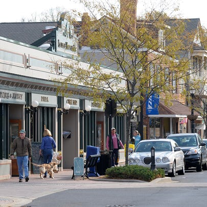 Shoppers in downtown Lewes on 2nd Street.