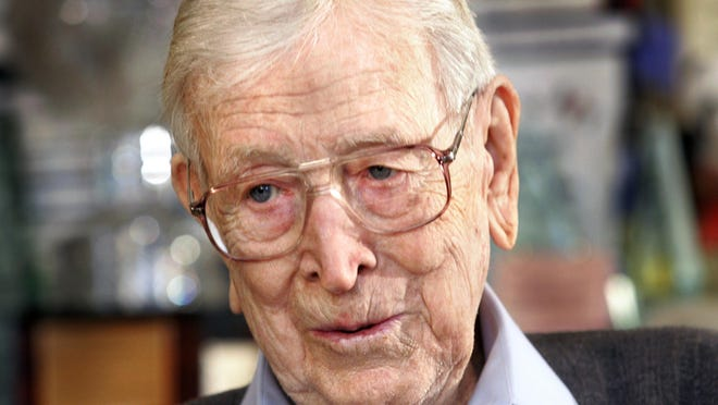 The late UCLA basketball coach John Wooden, seen here at the age of 95 in his Los Angeles home on Feb. 16, 2006. Wooden, a native of Martinsville, led the Artesians to the 1927 state basketball championship, then while at Purdue University, was college basketball player of the year.