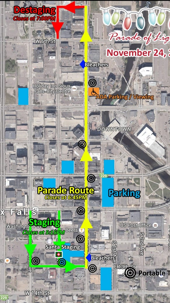 The route for the 26th Annual Parade of Lights follows