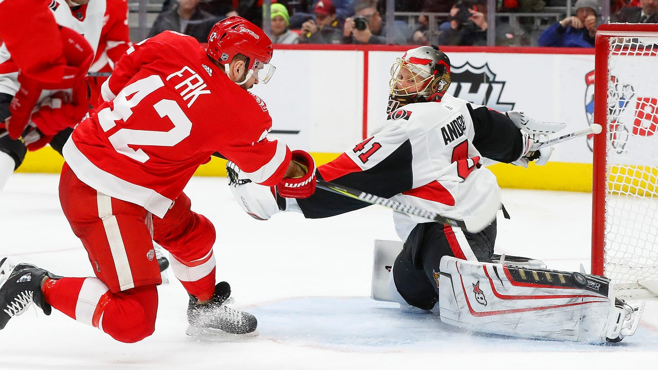 Red Wings players Tomas Tatar and Martin Frk and coach Jeff Blashill answer questions about the team's inept power play Thursday, Jan. 18, 2018 at Little Caesars Arena.