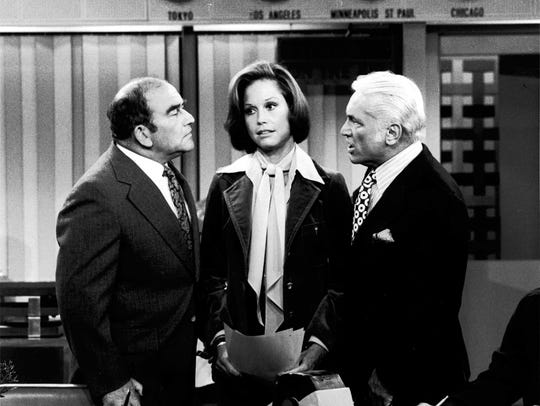 Edward Asner, left, Mary Tyler Moore and Ted Knight