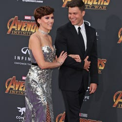 'Avengers: Infinity War': Scarlett Johansson, Colin Jost make their red carpet debut as a couple