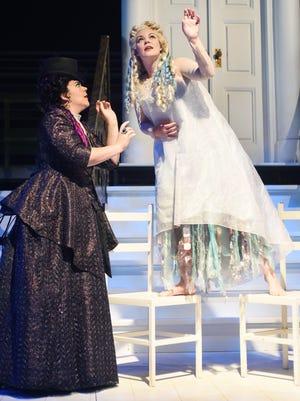 Daveda Karanas as Ježibaba and Sara Gartland as Rusalka.