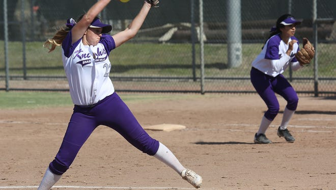 Caitlyn Whiteside pitches for Shadow Hills during their loss to Desert, Thursday, May 21, 2015.