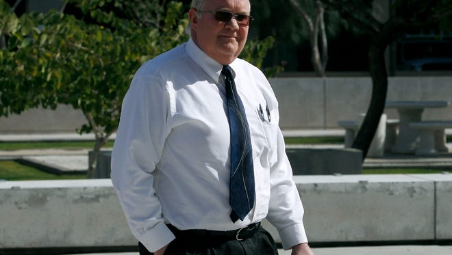 Hildale, Utah mayor Phillip Barlow arrives at the Sandra Day O'Connor United States District Court where a federal civil rights trial against the polygamous towns of Hildale and Colorado City, Ariz., which are located on the Arizona-Utah line, is set to begin, Tuesday, Jan. 19, 2016, in Phoenix.
