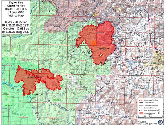 This map shows the Taylor Creek Fire (on the right) and Klondike Fire (on the left).