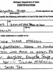Kenyetta Wilbourn-Snapp signed this letter claiming that her mother Tracie McKissic was buying the 2007 Maserati. The move saved McKissic from paying state sales tax. McKissic, however, is not her mother.