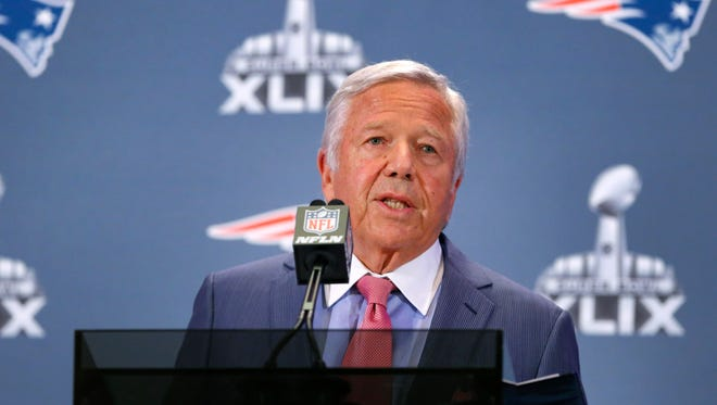 New England Patriots owner Robert Kraft addressed the media at the Sheraton Wild Horse Pass Resort & Spa on Jan. 26, 2015 in Chandler.