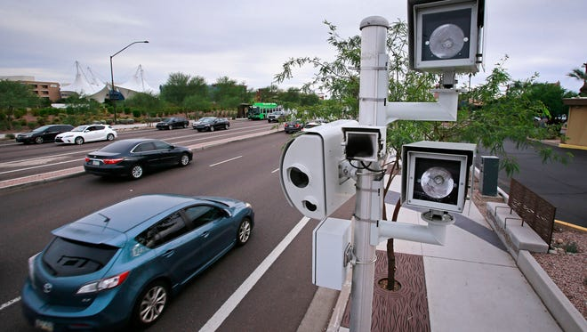 A motorist ticketed for speeding in Brice is asking the Ohio Supreme Court to halt the the Franklin County village's use of traffic-enforcement cameras similar to the one pictured here in Arizona, arguing the hearing process used is the same as the one in Toledo that was found unlawful.