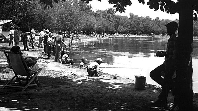 This was the scene on 12 June 1953 as 1,000 kids less than 15 years old participated in the Fishing Rodeo at Riverside Lake.