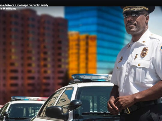 Wilmington police Chief Bobby Cummings is shown in an image from a video on the government Facebook page of Mayor Dennis P. Williams. The image was Photoshopped.